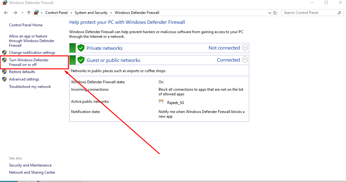 Windows Firewall disable