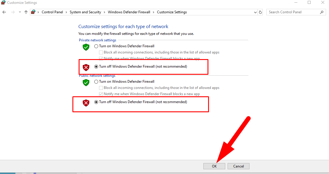 How to stop windows Firewall